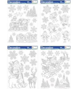 Okenná fólia Vianočná strieborná s ľadovým efektom 29x41cm
