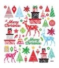 Nálepky trblietavé Vianočné - MERRY CHRISTMAS 15x16,5cm 1 list