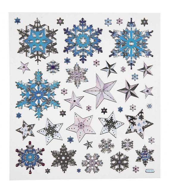 Nálepky vločky a hviezdy 15x16,5cm 1 list
