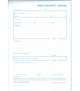 Lístok reklamačný A5 NCR 100 list.