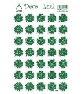 Samolepky dekoračné zelené štvorlístky glittrové 12x18 cm, č. 414