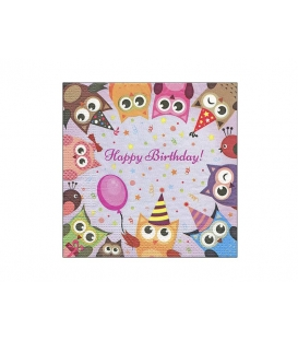 Servítky dekoračné 33x33cm, 20ks, 3-vrst - Happy Birthday
