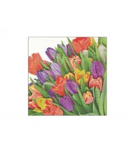 Servítky dekoračné 33x33cm, 20ks, 3-vrst - Tulipány