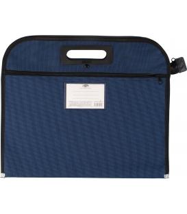 Aktovka A4 polyester s držadlom na zips, modrá