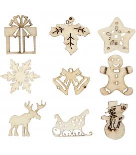 Vianočná dekorácia - drevené ornamenty v krabici 45ks