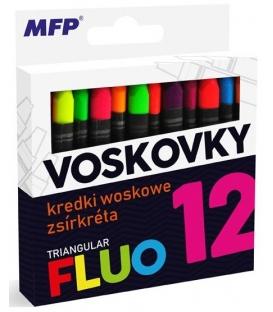 Voskovky FLUO 12 farebné