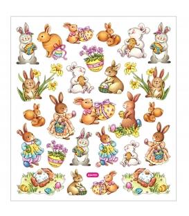 Nálepky Veľkonočné zajace, 1 list - 15x16,5cm