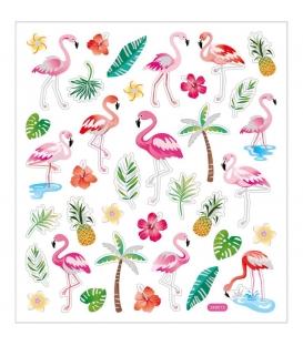 Nálepky flamingo, 1 list - 15x16,5cm
