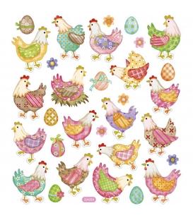 Nálepky Veľkonočné sliepočky, 1 list - 15x16,5cm