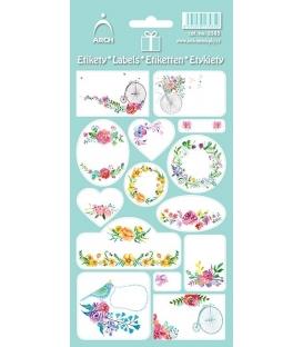 Menovky na darčeky kvetinkové zelené 14 ks