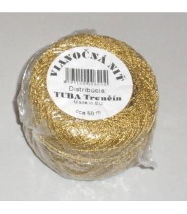 Šnúrka na balenie saloniek  50 m zlatá