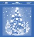 Vianočná okenná fólia deti pri stromčeku
