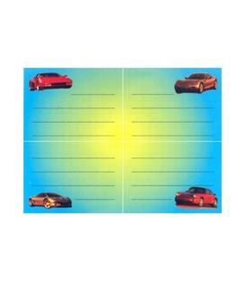 Školské štítky samolep. Autá športové  4 ks, 328