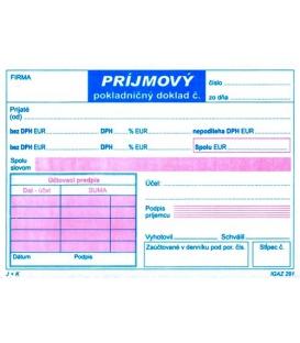 Príjmový pokladničný doklad A6 dvojfarebný 2xDPH NCR, 100 listov,   291