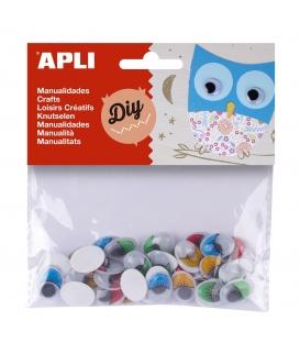 Oči oválne s riasami 16 x 12 mm samolepiace mix farieb 40 kusov