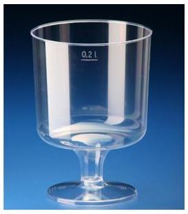 Pohár 200 ml na stopke kryštál plast., 10 ks