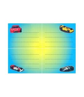 Školské štítky samolep. Autá závodné  4 ks, 329
