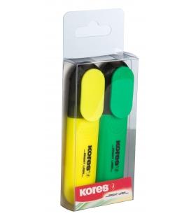 Zvýrazňovač BRIGHT LINER  žltý + zelený 2 ks