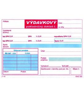 Výdavkový pokladničný doklad A6 dvojfarebný 2xDPH NCR, 100 listov,   292