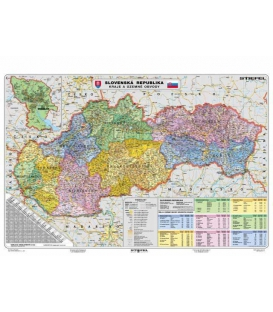 Mapa nástenná Slovensko - kraje a územné obvody