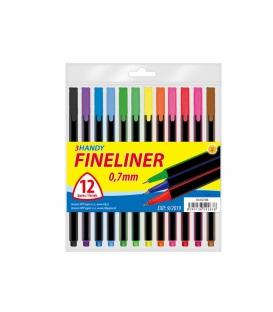 Linery 0,7 mm fineliner trojhranné 12 farieb v PVC