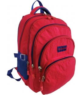Batoh školský trojkomorový červený