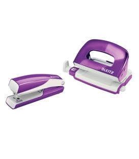 Set zošívačka + dierovač Leitz Wow - purpurová