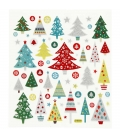Nálepky trblietavé Vianočné stromčeky 15x16,5cm 1 list