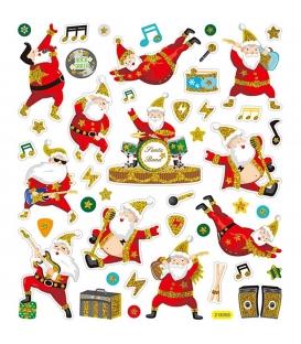 Nálepky trblietavé Vianočné - spievajúci Santa Claus 15x16,5cm 1 list
