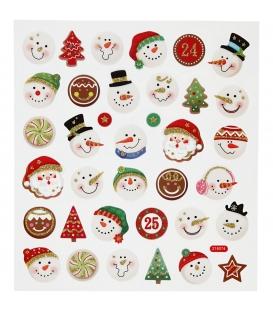 Nálepky trblietavé Vianočné - snehuliaci 15x16,5cm 1 list