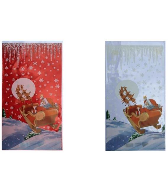 Sáčok Mikuláš jednostranný červený a biely 18 x 39 cm