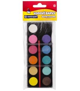 Vodové farby 9541 12 farebné  22 mm + štetec