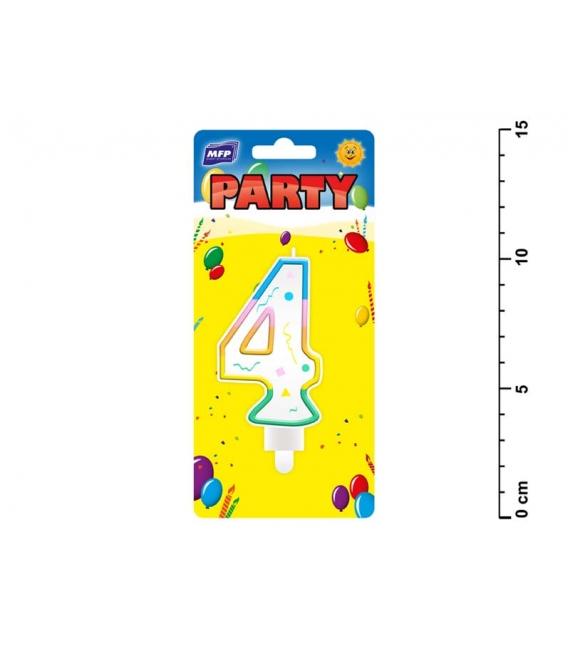 Sviečka tortová dúhová - číslo 4