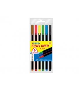 Linery 0,7 mm fineliner trojhranné 6 farieb v PVC