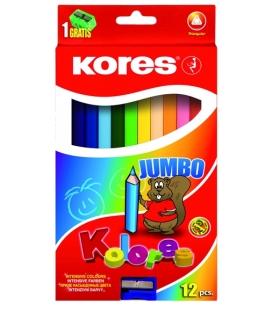 Farbičky JUMBO trojhranné 12 far. + strúhadlo 5mm