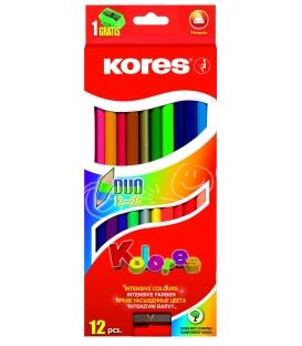 Farbičky trojhranné obojstranné 12 ks  24 farieb + strúhadlo 3mm