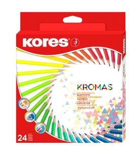 Farbičky trojhranné nelámavé 24 farebné KROMAS