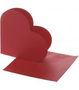 Dopisný papier v tvare srdca s obálkou - 10 súprav