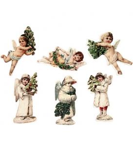 Drevení nalepovací Vianoční anjeli, 6ks