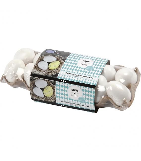 Veľkonočné vajíčka plastové biele zdobené 6cm, 12ks