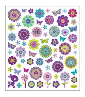 Nálepky kvety a motýle 15x16,5cm 1 list