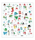 Nálepky trblietavé Vianočné - snehuliaci a darčeky 15x16,5cm 1 list