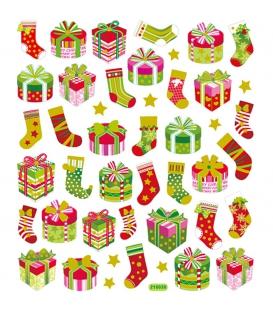 Nálepky trblietavé Vianočné - darčeky a ponožky 15x16,5cm 1 list