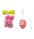 Veľkonočné vajíčka plastové ružový mix II 6cm, 6ks