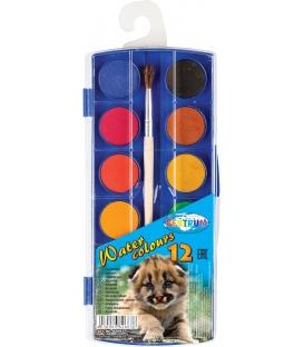 Vodové farby motív Zoo, 12far 20mm + štetec, suché