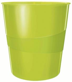 Kôš plastový Leitz Wow metalický zelený 15L