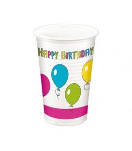 """Pohár plastový ,, HAPPY BIRTHDAY"""" 200 ml balenie po 10 ks"""