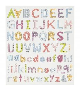 Nálepky trblietavé - abeceda, 1 list