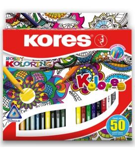 Trojhranné farbičky nelámavé 50 farieb KOLORES MANDALAS