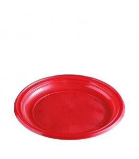 Plastový tanier plytký červený 22 cm - balenie 10 kusov